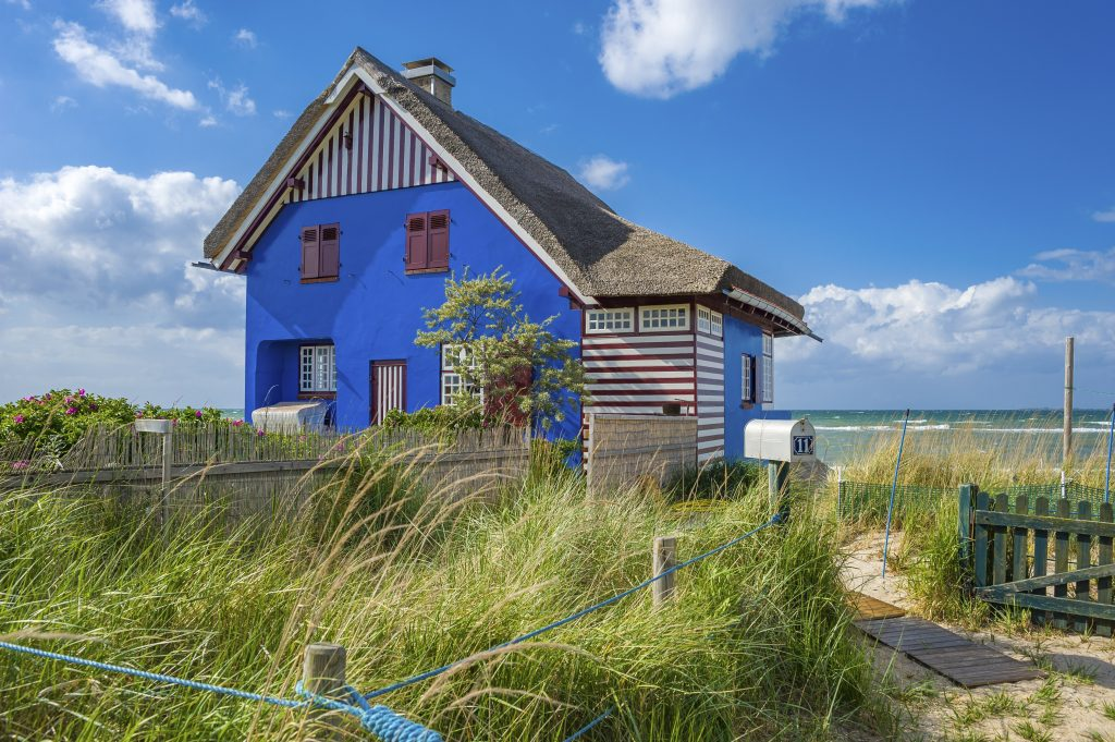 Holiday cottage on the peninsula and nature reserve Graswarder in Heiligenhafen at the Baltic Sea